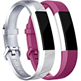 (US) Tobfit for Fitbit Alta Bands(2 PACK), Small, Silver/Fuchsia