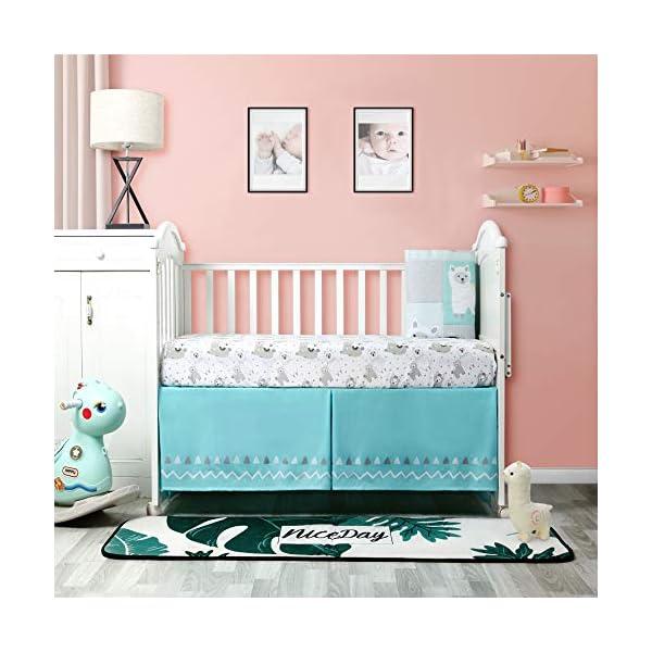 Baby Nursery Turquoise and Grey Crib Bedding Sets: La Premura Llama and Cacti 3 Piece Standard Size Crib Set