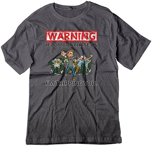 BSW Youth Warning - If Zombies Chase us I'm Tripping You Funny Shirt XS Dark Heather