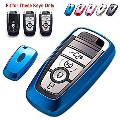 GEERUI Compatible with Ford Key Fob Cover, Soft TPU Key Fob Case Protector Holder for 2020 2020 2020 Ford Fusion F150 F250 F350 F450 F550 Edge Explorer Escape Mustang Smart Keyless Entry (Blue): Automotive