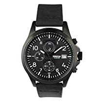 Time2U S9145G Men's Chronograph Analog Rich Look Elegant & Classy Stainless Steel IPB Painted Black Case and Matte Black Genuine Leather Strap Wrist Watch, Matte Black