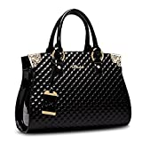 HUOBAO Women's Patent Leather Handbags Designer Totes Purse Satchels Shoulder Handbag Fashion Embossed Top Handle Bags (Black)