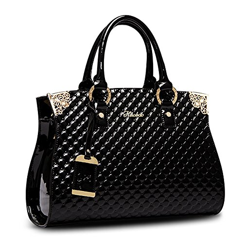 - Women's Patent Leather Handbags Designer Totes Purse Satchels Shoulder Handbag Fashion Embossed Top Handle Bags (Black)