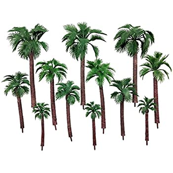 18PCS YEDREAM Model Trees Palm Tree Miniature Landscape Trees Fake Trees for Projects