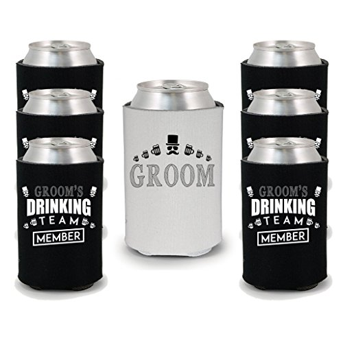 Shop4Ever Groom and Groom#039s Drinking Team #039Member#039 Can Coolie Wedding Drink Coolers Coolies Member Blk 6 Pk