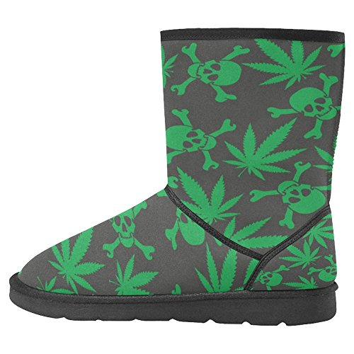 Snow Stivali Da Donna Di Interestprint Design Unico Comfort Invernale Stivali Foglie Di Cannabis Con Teschi Multi 1