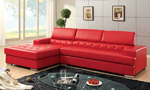 red sectional leather couch