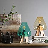 CASAMOTION Hand Blown Decorative Art Glass Plug in Table Lamp with Unique Wood Stand, Recycled Green