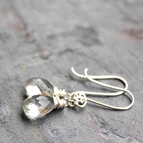 Petite Crystal Quartz Earrings Sterling Silver Dangling Drops Clear Faceted Stones Wire - Dangling Earrings Quartz