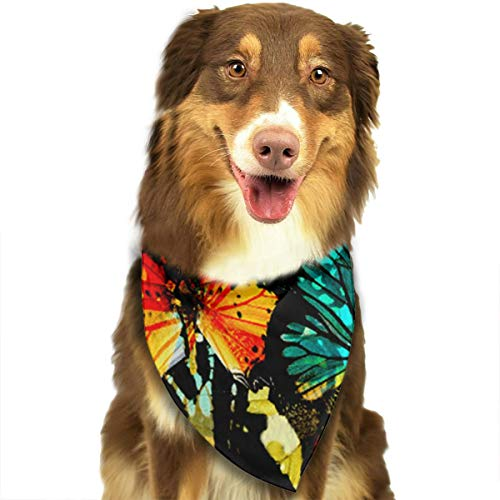Upper Wing Set (Dog Bandana Colorful Butterfly Upper Wing Triangle Bibs Scarf Printing Kerchief Set Accessories Dogs Cats Pets)