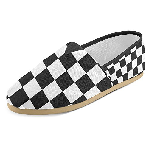 InterestPrint Women's Loafers Classic Casual Canvas Slip On Fashion Shoes Sneakers Mary Jane Flat Black and White Checkered