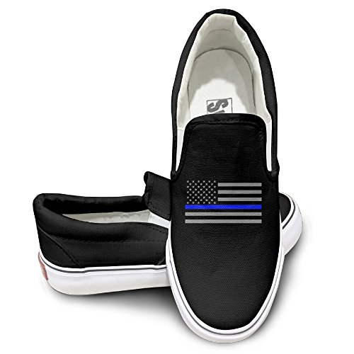 ALIPAPA Custom Men's & Women's Awesome Thin Blue Line American Flag Mode Shoes Black Size 43 by ALIPAPA
