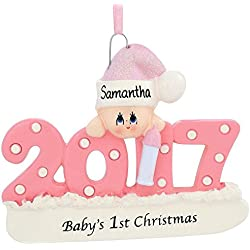 Baby's 1st Christmas Ornament Personalized (Pink (Girl))