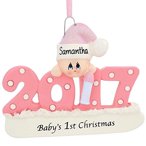 2017 Baby's 1st Christmas Ornament Personalized (Pink - First Babys Christmas Personalized Ornament