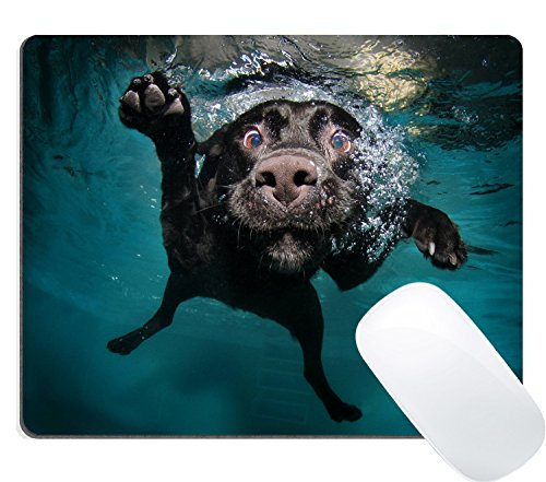 Wknoon Gaming Mouse Pad Custom Design Large Mat, Funny Black Labrador Retriever Dog Swimming with Expressive -