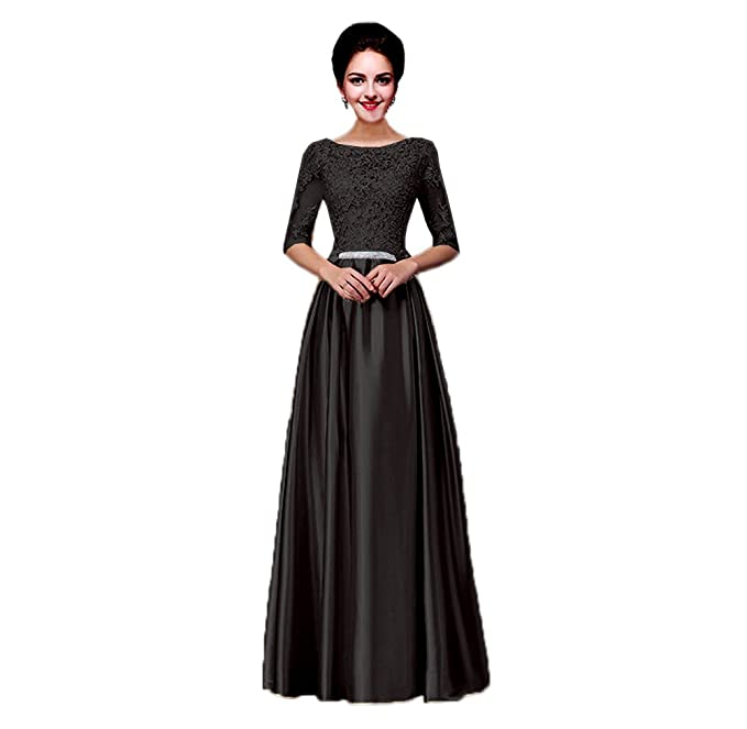 bc4944056d907 Vimans® Long Sexy Black Scoop Lace Satin Bridesmaid Evening Dressing  Gown ...