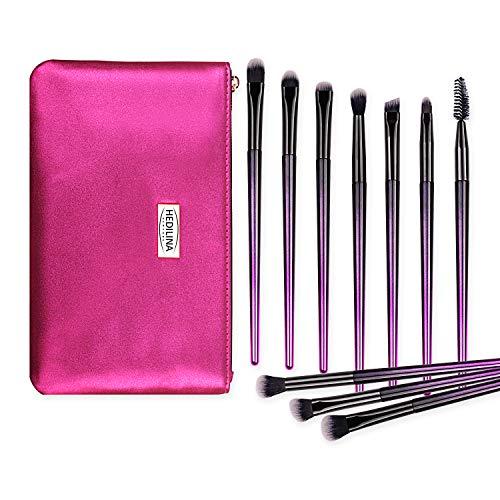 10 pcs Professional Eye Makeup Brushes Kit with a Portable Cosmetic Bag - HEDILINA Makeup Brushes Set, Blending Eyeshadow Eyebrow Concealer Smudge Lip Brushes (Rose Red)