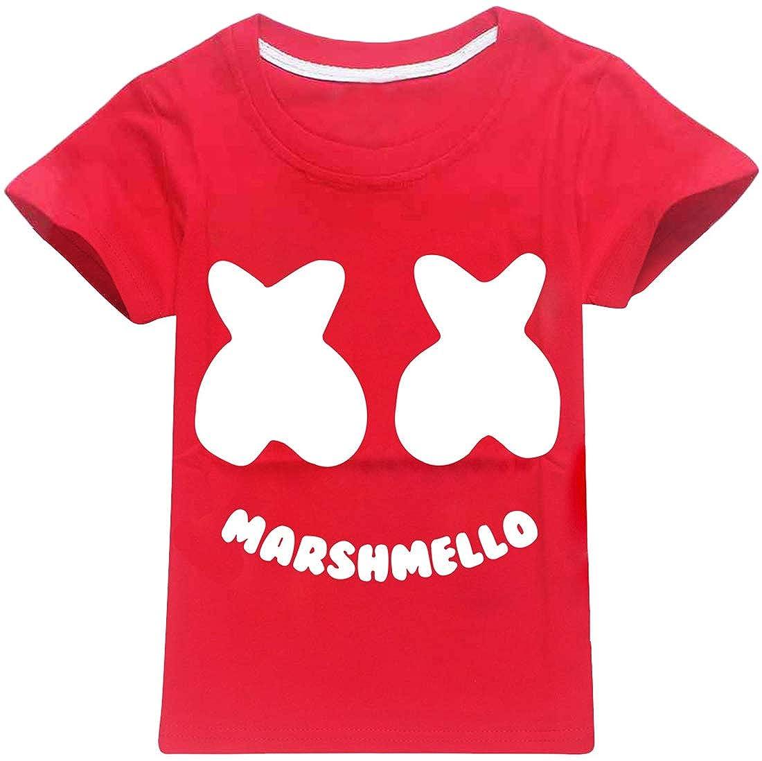EMILYLE Ragazze Pullover Logo Stampato Maglietta Marshmello DJ Suono Elettrico EDM Cool Hip Hop T-Shirt