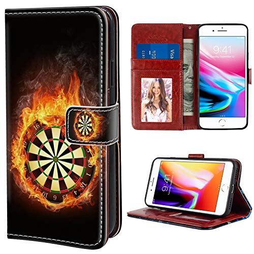 YaoLang iPhone 7 Plus, iPhone 8 Plus Wallet Case, Fire Darts Dartboard PU Leather Standable Wallet Phone Case with Card Holder Magnetic Hold for iPhone 7/8 Plus