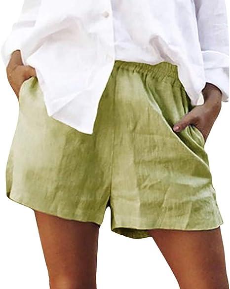 Pantalones Cortos De Mujer,Señoras Verde Shorts Plus Tamaño De ...