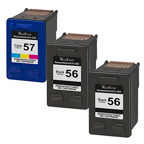 Valuetoner 3 Pack Remanufactured Ink Cartridges for HP 56 & HP 57 CD944FN C6656AN C6657AN, (2 Black, 1 Tri-Color) for HP Deskjet 5850 5650 5150, Photosmart 4215 7150 7260 7350 7960, PSC 2510 Printer (56 Ink C6656an Black)