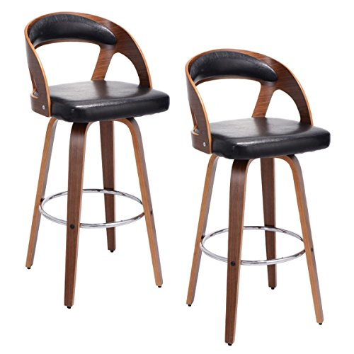 """Price comparison product image 2Pcs 42.5"""" Modern Bentwood Bar Stools PU Leather Cushioned Bistro Chair w / Ergonomic Back Design"""