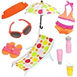 #6: Beverly Hills 10 Piece 18 Inch Doll Beach Set And Accessories. Fits American Girl Dolls - GREAT VALUE PACK!!!Doll Not Included
