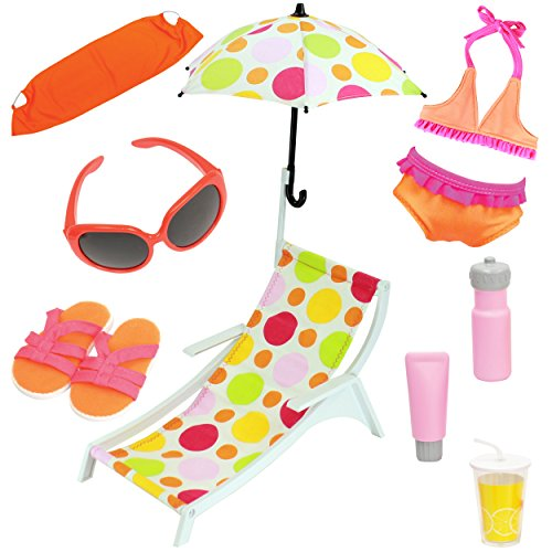 Beverly Hills 10 Piece 18 Inch Doll Beach Set and Accessorie