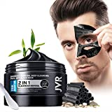 JVR Blackhead Remover Mask for Men,Bamboo Charcoal Peel Off Black Mask,Purifying and Deep Cleansing for All Skin Types 4.23 OZ