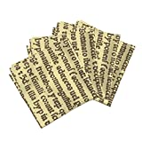 Roostery Text Script Medieval Latin Spells Magic Christian Organic Sateen Dinner Napkins Ancient Parchment - Sepia On by Peacoquettedesigns Set of 4 Dinner Napkins