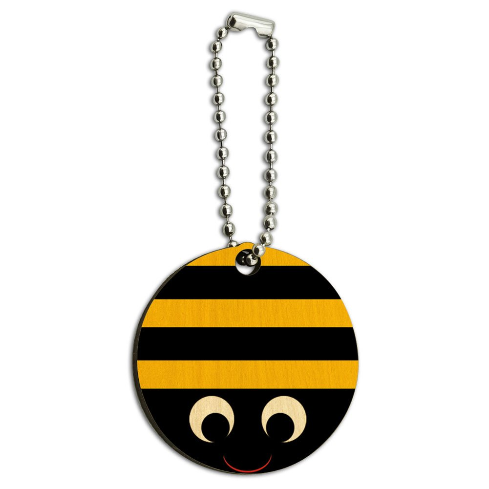 Bumble Bee Party Girl Birthday Wood Wooden Round Key Chain