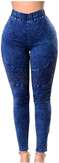 VITryst Womens Skinny Big Hips Ruffle Trendly Stretchy High Waist Jeans Pants
