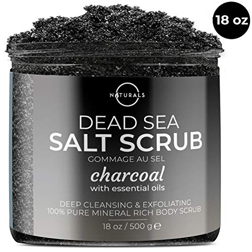 O Naturals Activated Charcoal Dead Sea Salt Body & Face Scrub. For Deep Cleansing & Exfoliation. w/Essential Oils. Detoxifying. Minimize Pores. Reduces Acne, Cellulite, Blackheads & Wrinkles. 18 Oz
