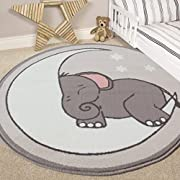 The Rug House Nursery Style Elephant, Moon and Stars Kids Baby Room Childrens Floor Area Rug Mat