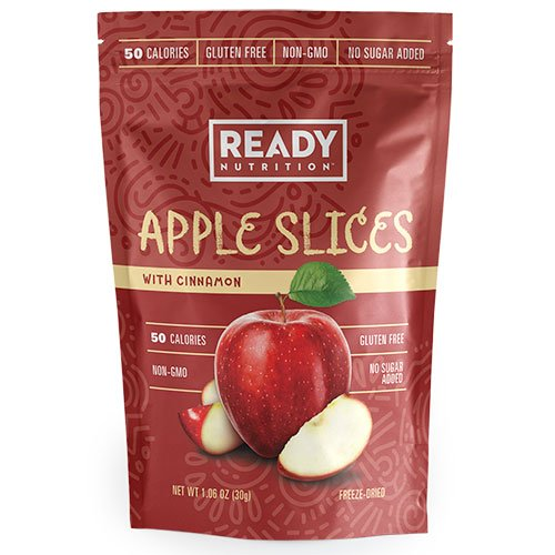 Ready Nutrition Apple Slices with Cinnamon, Gluten Free, Non-GMO, only 50 Calories, No Added Sugar (30g, pack of 12)