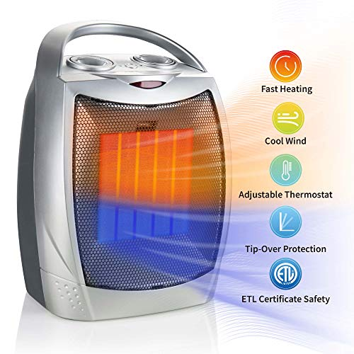 Brightown 750W 1500W Ceramic Space Heater, Electric Portable Room Heater with Adjustable Thermostat and overheat Protection for Home Bedroom or Office, ETL Listed