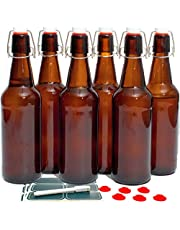 Otis Classic Swing Top Glass Bottles with Lids - Clear/Amber- Set of 6, 16oz, Flip Top Stoppers- Second Fermentation, Limoncello, Kombucha, Water Kefir, Brewing Beer