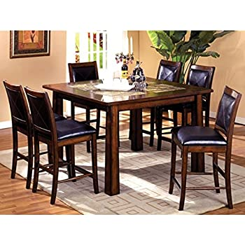 Bavaria Mission Style 7 Piece Marble Insert Counter Height Dining Table Set
