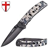 Grand Way Folding Knife - Outdoor Knife - EDC and Tactical Classic Pocket Knives Stainless Steel Blade with Camo G-10 Handle Metal Clip - Best Urban Tourist Fold Knife for Travel and Hiking 10616