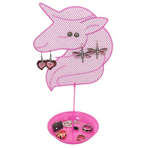 Bucasi Cute Unicorn Jewelry Organizer - Teen Earring and Ring Stand - Girls Gift IDEA (Pink)
