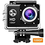 Action Camera, Wifxbot 1080P HD 12MP Waterproof Cam 140 Ultra Wide-Angle Lens with Mounting Accessories Kit for Cycling Swimming Climbing Diving