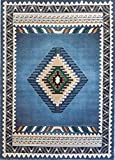 Rustic Southwestern Western Native American Indian Area Rug in Blue – W/G 143 Light Blue (8'X10′) For Sale