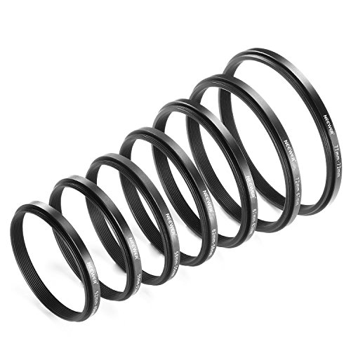 Neewer 7 Pieces Step-Down Adapter Ring Set Made of Premium Anodized Aluminum, Includes: 77-72mm, 72-67mm, 67-62mm, 62-58mm, 58-55mm, 55-52mm, 52-49mm-Black