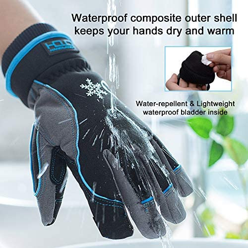 Waterproof & Windproof Winter Gloves for Men, Touchscreen Thermal Gloves for Cold Weather, Ski Snowboard Work Gloves with 3M Warm Lining (XXL, Blue)