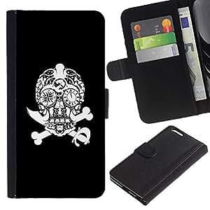 A-type (Diamond Espada Pirata huesos del cráneo) Colorida Impresión Funda Cuero Monedero Caja Bolsa Cubierta Caja Piel Card Slots Para Apple (5.5 inches!!!) iPhone 6+ Plus / 6S+ Plus