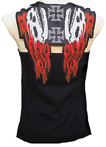 Rockabilly Punk Rock Baby Damen Designer Tank Top Shirt Hell Biker Fire Skull schwarz Tattoo Design
