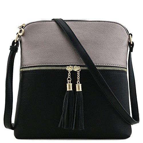 (Tassel Zip Pocket Crossbody Bag (Pewter/Black))