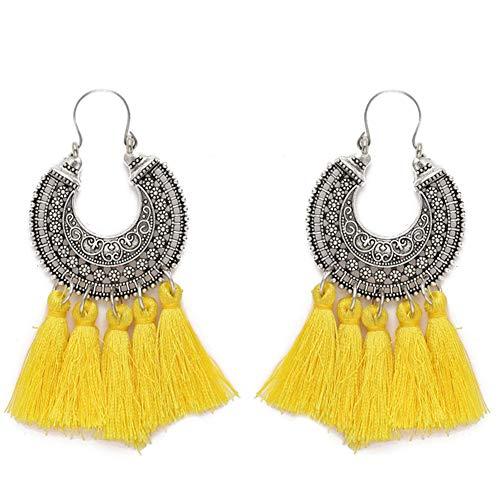 AMCHIC Fan Shape Bohemian Statement Silky Tassel Fashion Earrings for Women Dangling,Thread Fringe with Vintage Ethnic Pattern Metal Drop Pendant Earrings,Ladies' Gift,Yellow