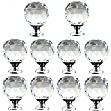 Crystal Knobs, 1-1/8 inch(30mm) Glass Diamond Shape Cabinet Door Hardware Drawer Round Crystal Furniture Kitchen Pull Knobs, 10 Pack