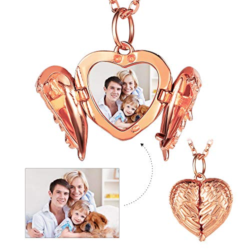 Custom4U Angel Wing Locket Picture Engraving Necklace Forever in My Heart Charm Rose Gold Customized Jewelry